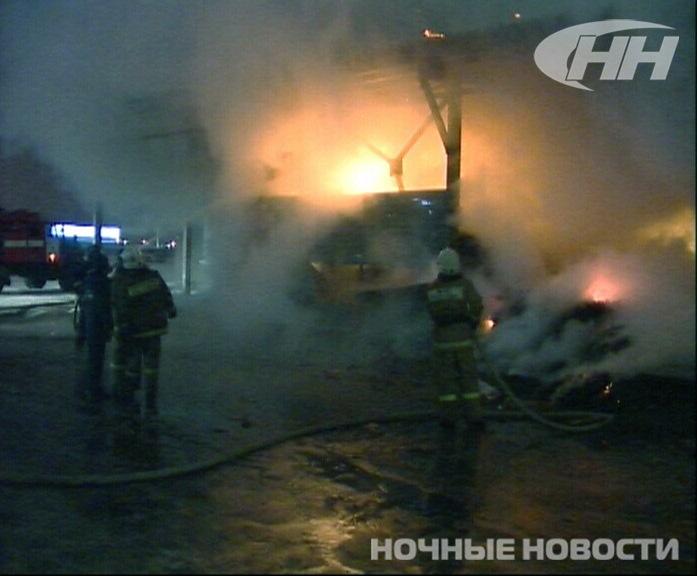 Ночью в районе Южного автовокзала горел «Мегамарт»
