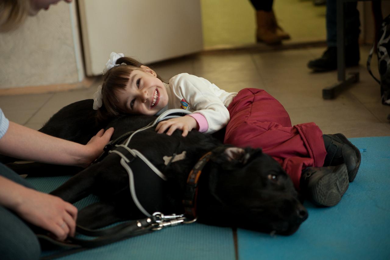 Лохматые врачи: в Екатеринбурге больным детям помогают собаки