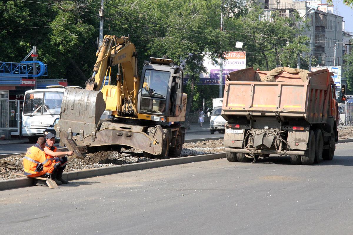 На Белинского начался ночной ремонт проезжей части
