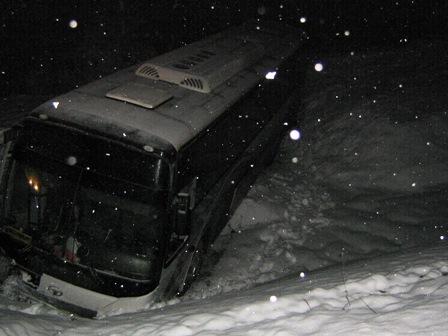 Автобус с детьми вылетел в кювет неподалеку от Нижних Серег
