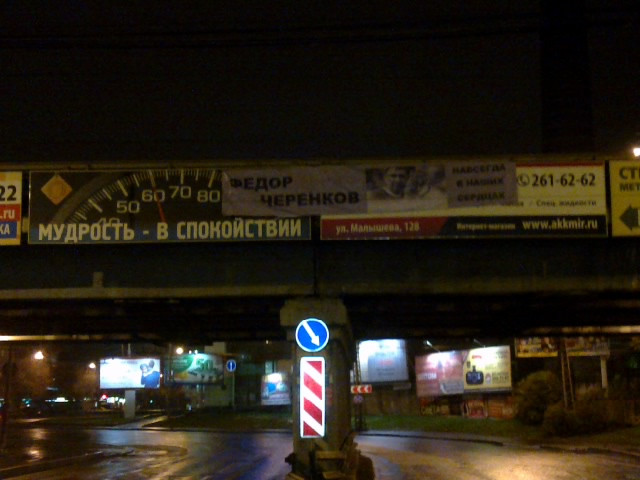 Портрет легендарного футболиста Черенкова повесили на малышевском мосту