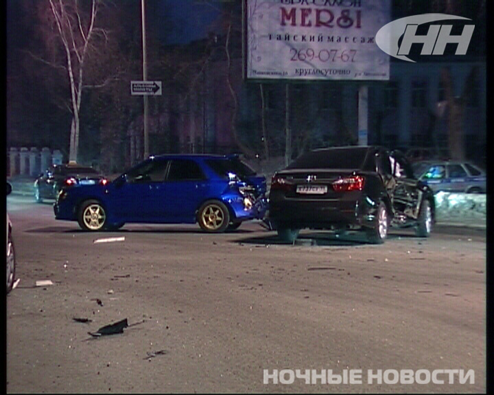 На ночной Московской столкнулись три иномарки
