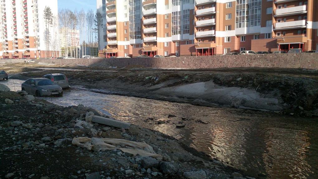 Уровень воды выше порогов: житель Академического пожаловался Якобу на озеро во дворе