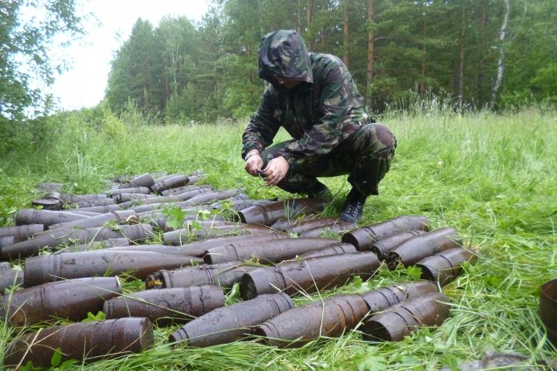 В лесу под Полевским грибники нашли 97 артиллерийских снарядов