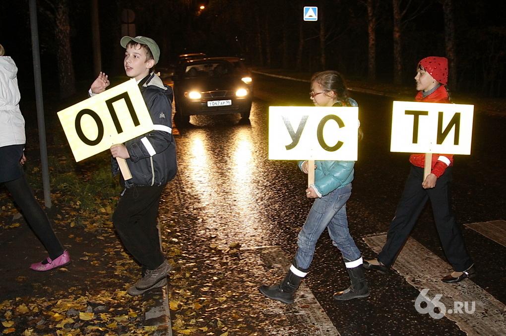 Екатеринбургские школьники провели акцию на зебре