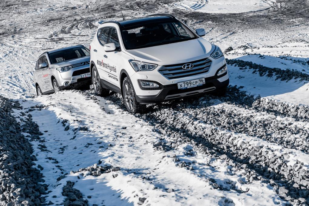 Hyundai Santa Fe vs Mitsubishi Outlander: дуэль в камнях