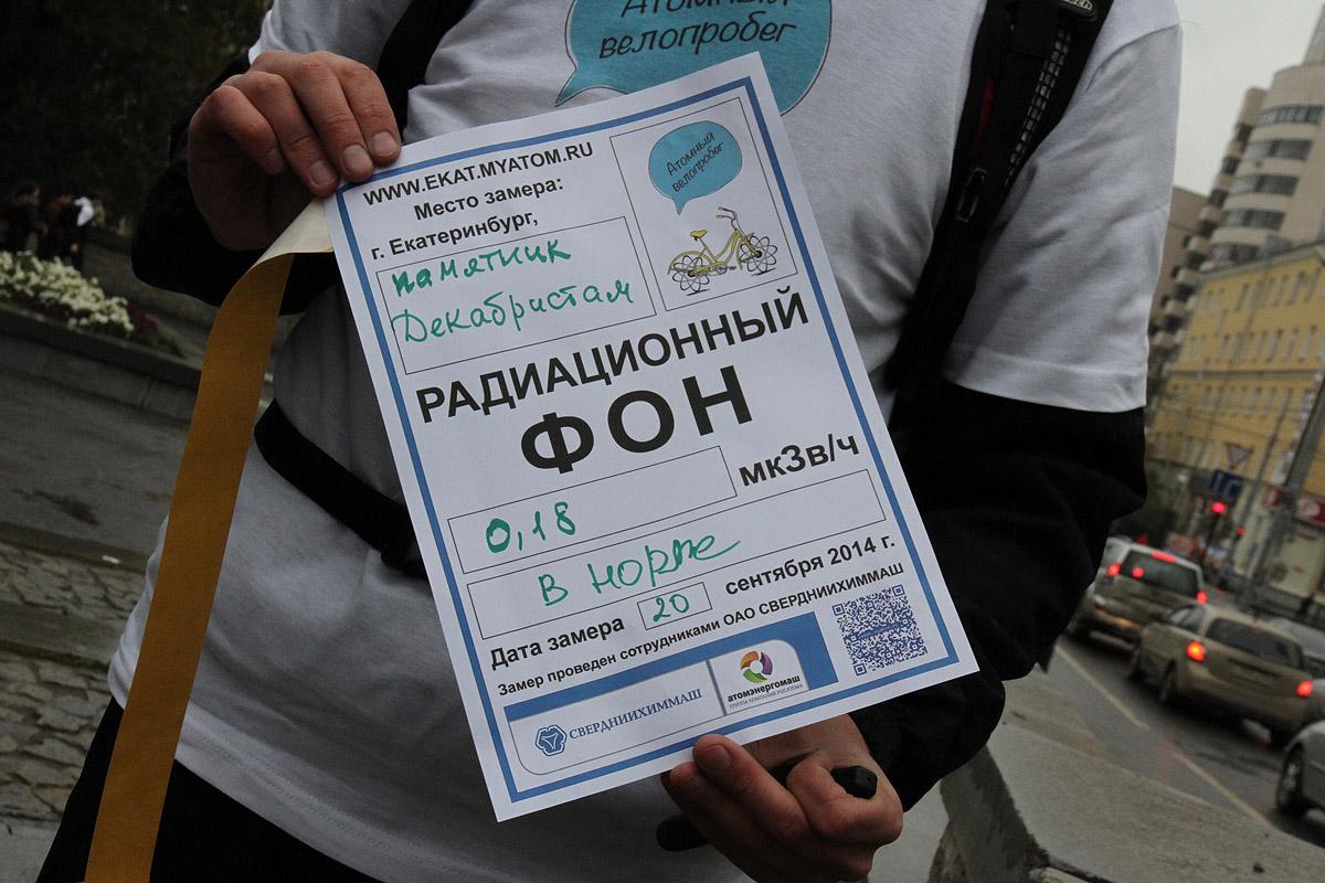 Радиационная карта Екатеринбурга. Выше всего излучение на Центральном стадионе