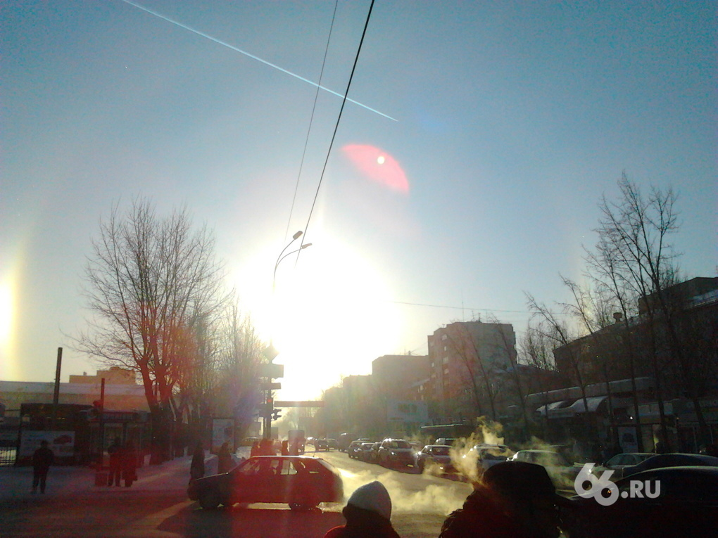В небе над Екатеринбургом появилась зимняя радуга