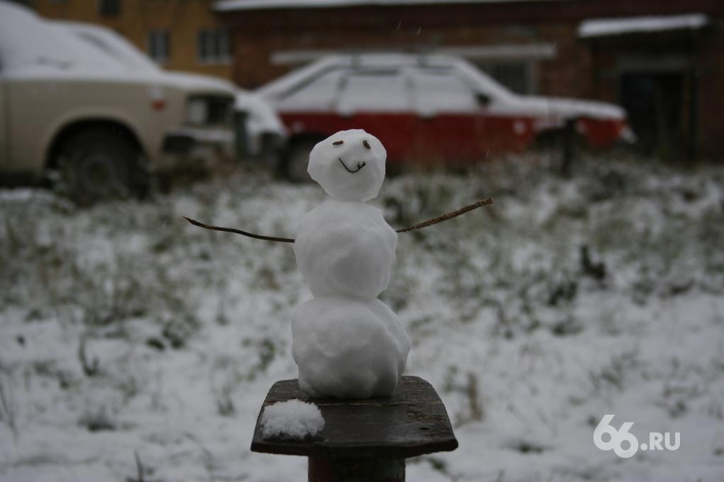 Екатеринбург за ночь засыпало снегом